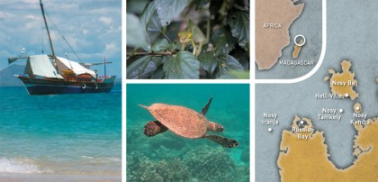 Clockwise from left: A traditional outrigger canoe; chameleons; a turtle at Nosy Tanikely; Salama Tsara