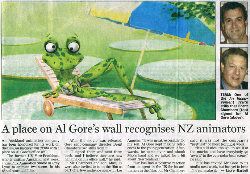 A place on Al Gore's wall recognises NZ animators