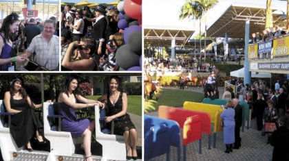 Clockwise from top: Placing a bet; Caloundra crowd; Corbould Park; Philomena, Lauren and Gemma frocked up at the Hyatt